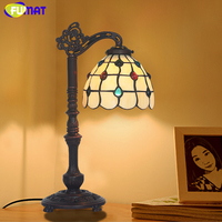 Antique Vintage Table Lamp Artistic Creative Tiffany Glass Shade Stand Lights Living Room Store Bar Bedroom