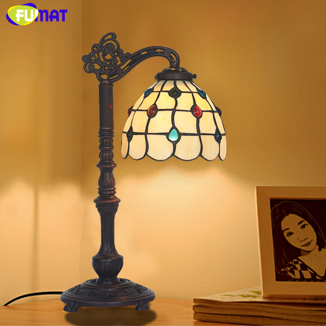 FUMAT Antique GlassTable Lamp Artistic Creative Stained Glass Shade Stand Lights Living Room Store Bar Bedroom Bedside Lamp