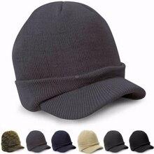 Skull-Hat Visor Beanie Oversized Comen Sport Warm Knit Peaked-Cap Crochet Brim INY Baggy