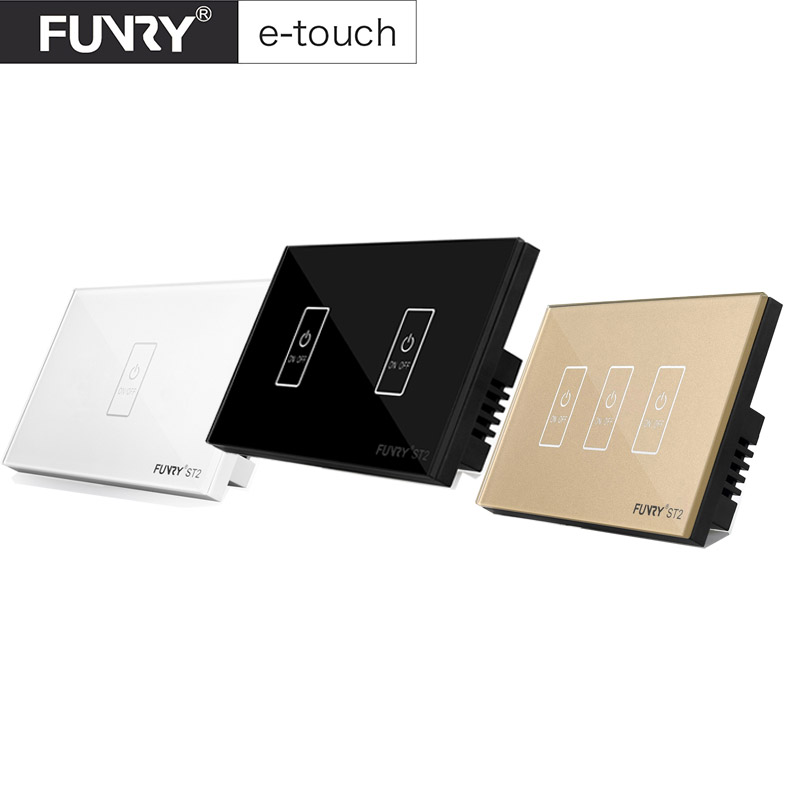 2017 Funryn New US Standard ST2 1 Gang  RF433 Wireless Touch Remote Control Wall Light Switch Smart Home work with Rm pro