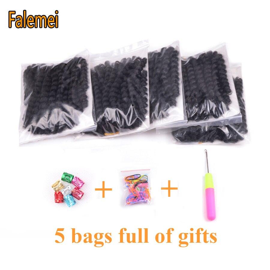 FALEMEI 10inch 2X jamaican studs twist hair tresse crochet flätor - Syntetiskt hår - Foto 2