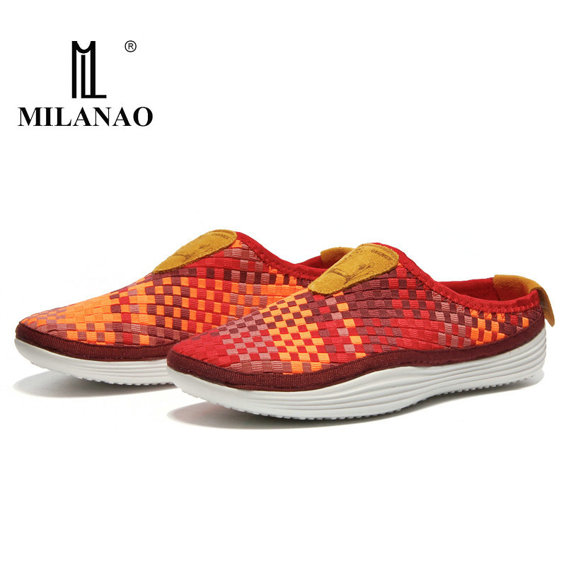 2018 MILANAO Boy Girl Outdoor Light Running Shoes Men & Women s Candy Lazy Breathable Weaving Walking Shoes