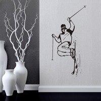 スキー柄動きウォールステッカー子供寝室装飾ステッカーリムーバブルアート壁画引用符送料配信