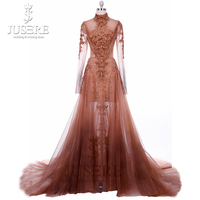 Catwalk Unique Fashion Style High Collar Velvet Embroidery Fitted Semi A line Illusion Bodice Couture Evening Dresses 2018
