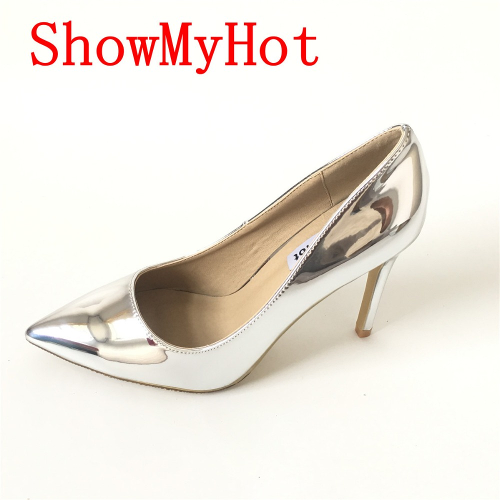 ShowMyHot Sexy Pointed Toe Fashion High Heels Evening Shoes Women Brand Designer Nightclubs Party Dress Thin