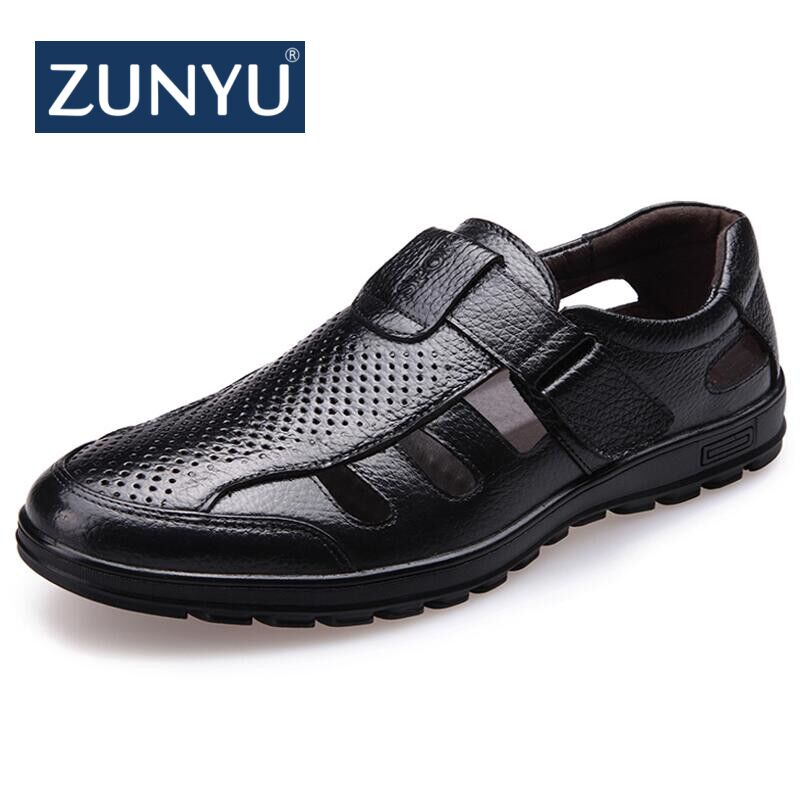 ZUNYU Brand Drop Shipping mens sandals genuine leather sandals outdoor casual men leather sandals for men New Men Beach shoes