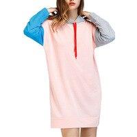 pink Sweatshirt Women Autumn Winter Fleece Hoodies Cotton Contrast Color Pocket Long Sleeve Casual Dress sueter feminino