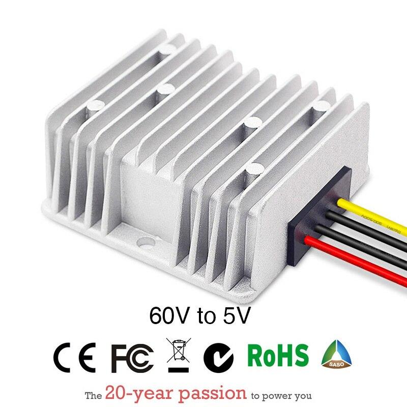 Convertisseur d'alimentation cc/DC abaisseur 60V à 5V 10A contrôle étanche Module de voiture faible chaleur Protection automatique taille 74*74*32mm