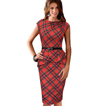 2016 New Women Vintage Pencil Plaid Dresses Elegant Belted Tartan Ruched Tunic Work Party Cap Sleeve Bodycon Sheath Peplum Dress