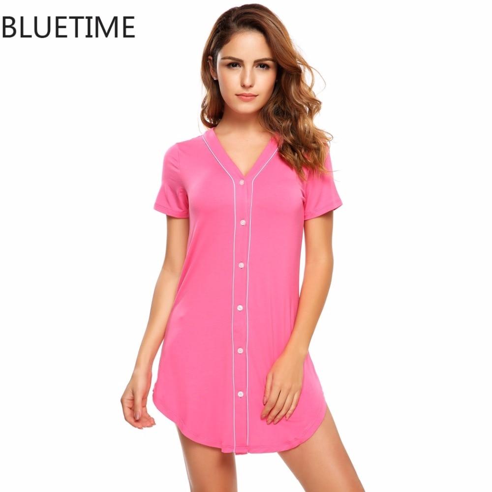 9915f79a76 Female Summer Nightgown Sleepshirt Sexy Short Sleeve Button Casual Sleep  Home Dress Night Shirt Sleepwear Nightwear Clothing A8