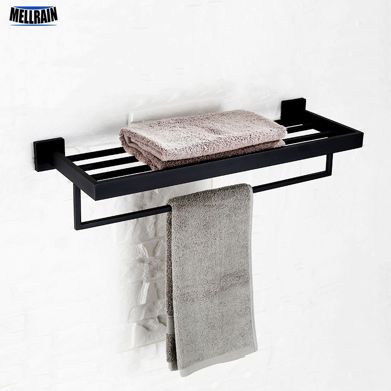 Black bathroom towel holder double deck wall mounted towel rack stainless steel polished blackand chrome plated choice