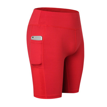2019 Women Polyester Quick-drying Elastic knickers Pocket Shorts Fitness Solid Color Short Casual Simple Style Women Feminino S casual women s satchel with zips and solid color design