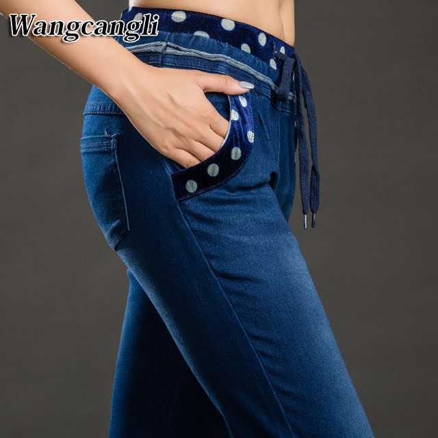 dc17cf6ae0 Moda otoño Altos pantalones vaqueros de Cintura Alta Elástica de Gran tamaño  Jeans Mujer Cuerda de