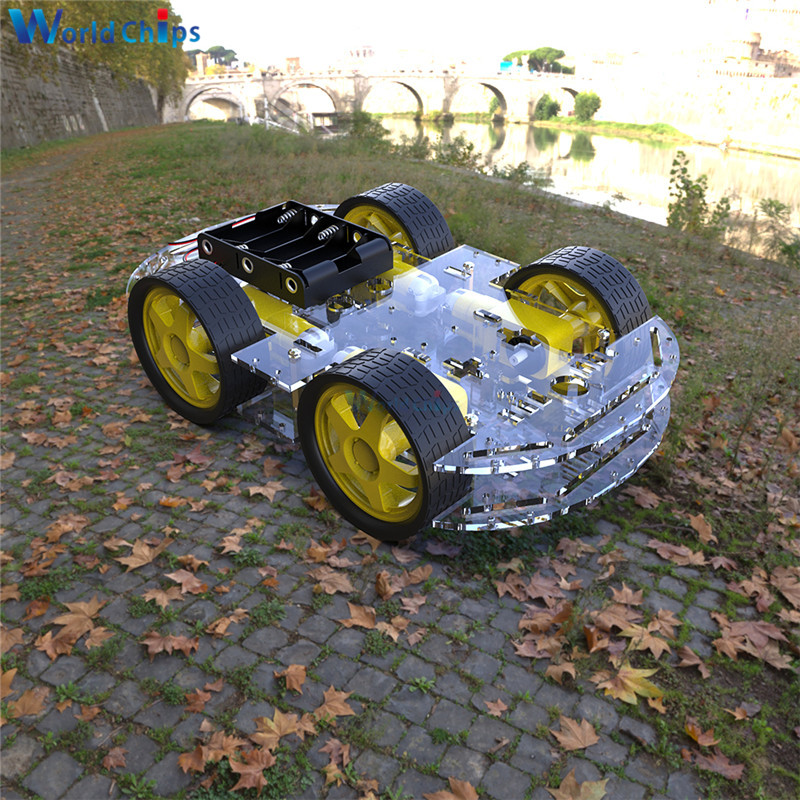 Smart Car Kit 4WD Smart Robot Car Chassis Kits Car With Speed Encoder And Battery Box For Arduino Diy Kit