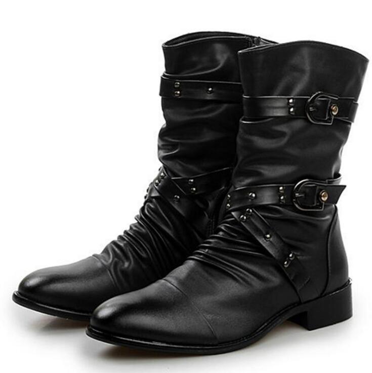 Fashion men spring autumn Motorcycle Martin Boots British Style Gothic Punk Thick Warm Black Shoes Plus Size