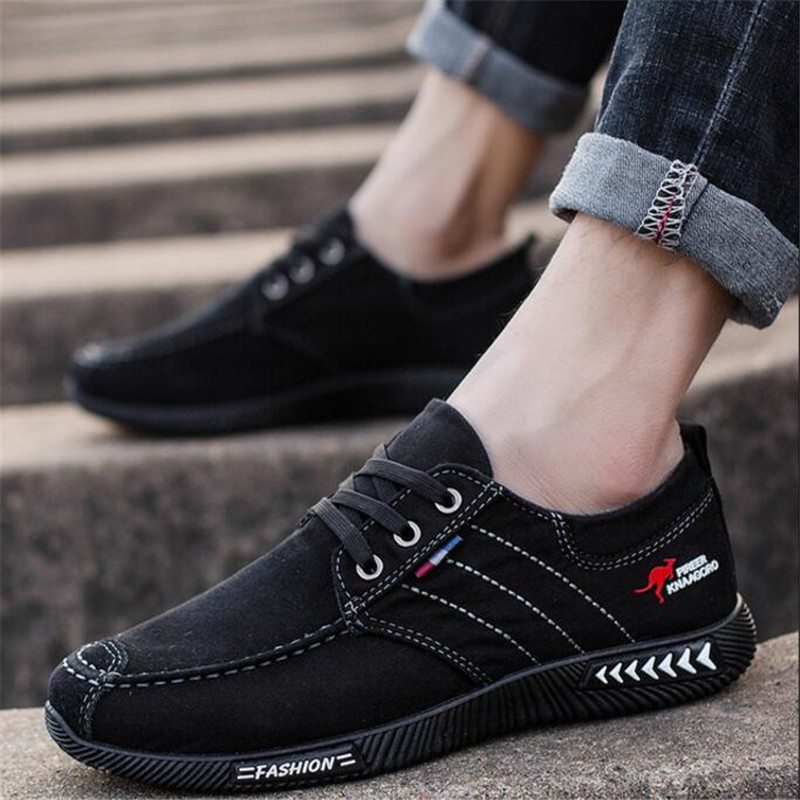 ELGEER New canvas shoes deodorant breathable men's shoes tide shoes non-slip male students tie casual stripes men shoes 4