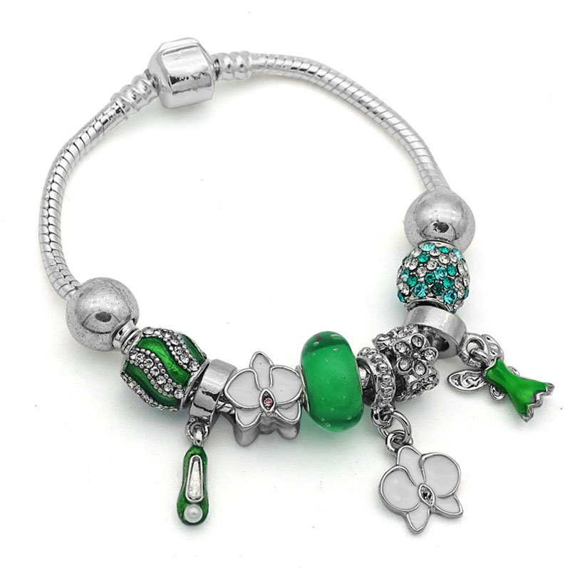 Fairy Tale Green Murano Gl Bead Charms Bracelets Bangles With Tinkerbell Dangles For Women Fashion Jewelry Wedding Gifts In Charm From