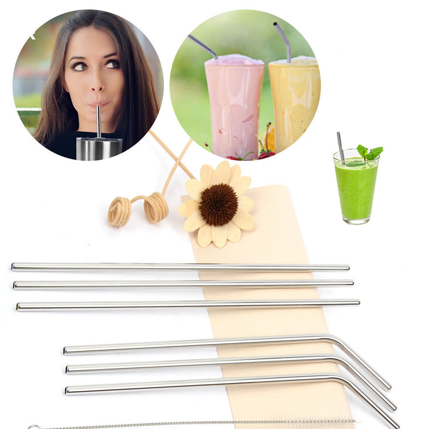 Newest 200Pcs Reusable Drinking Straw Set High Quality Eco Friendly 18 8 Stainless Steel Metal Straw For Mugs 6x215mm Wholesale in Drinking Straws from Home Garden