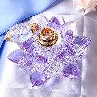 10 CM Durchmesser K9 Kristall Lotus Parfüm Flasche Miniatur Glas Auto Dekoration Innen Ornamente für Empfindliche Geschenke Wohnkultur