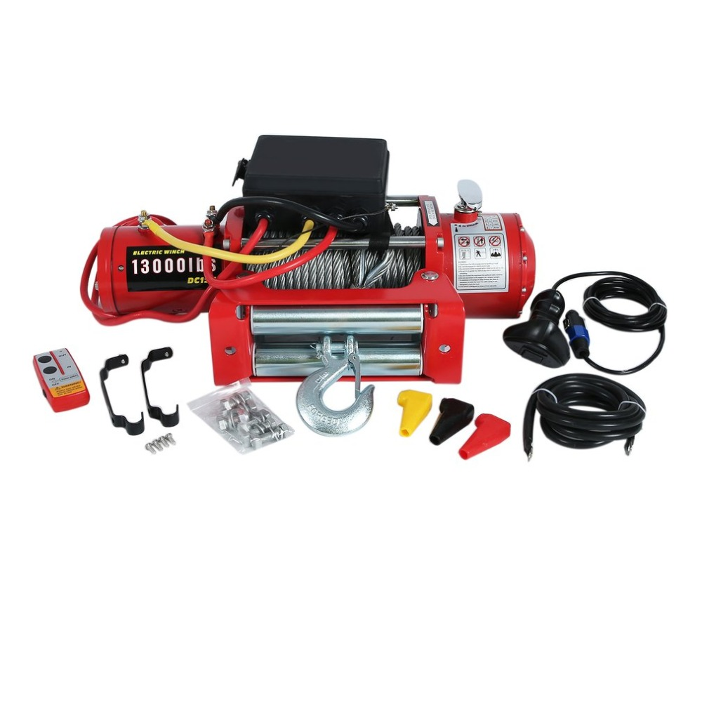12V 13000 lb Electric Winch High Performance Cars Engines Lift Winch With Remote Control Auto Lifting Sling Crane Equipment EU murphy m sling enr1x14 endless round sling purple x 14 synthetic rigging crane lifting belt