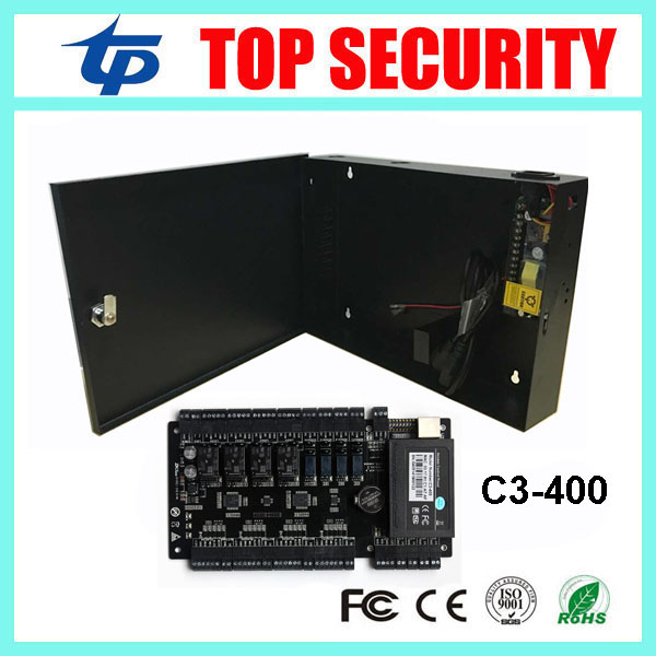 ZK C3-400 door access control system linux system 4 doors access control panel access control board with 12V5A power supply box