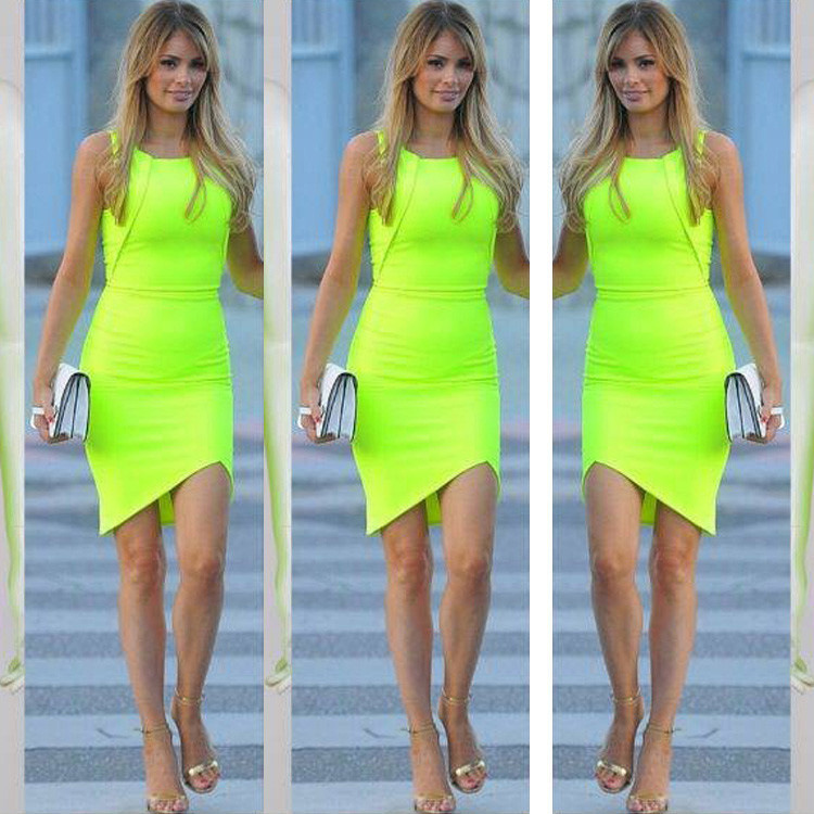 neon green dress 2015 new sexy neon party clothes vestiti