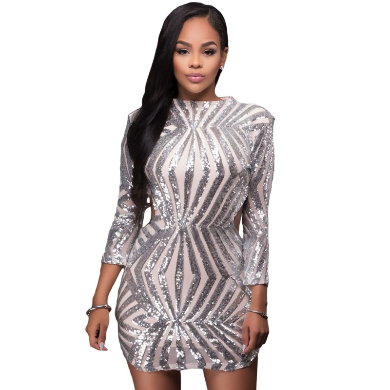 Popular Silver Long Sleeve Sequin Dress-Buy Cheap Silver Long ...