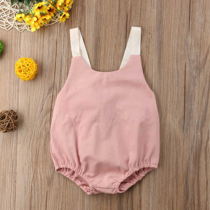 Sleeveless Baby Kleidung Mädchen Sommer Bowknot Baby Strampler Backless Lose Neue Geboren Baby Kleidung Overall Casual Outfits 0-24Months