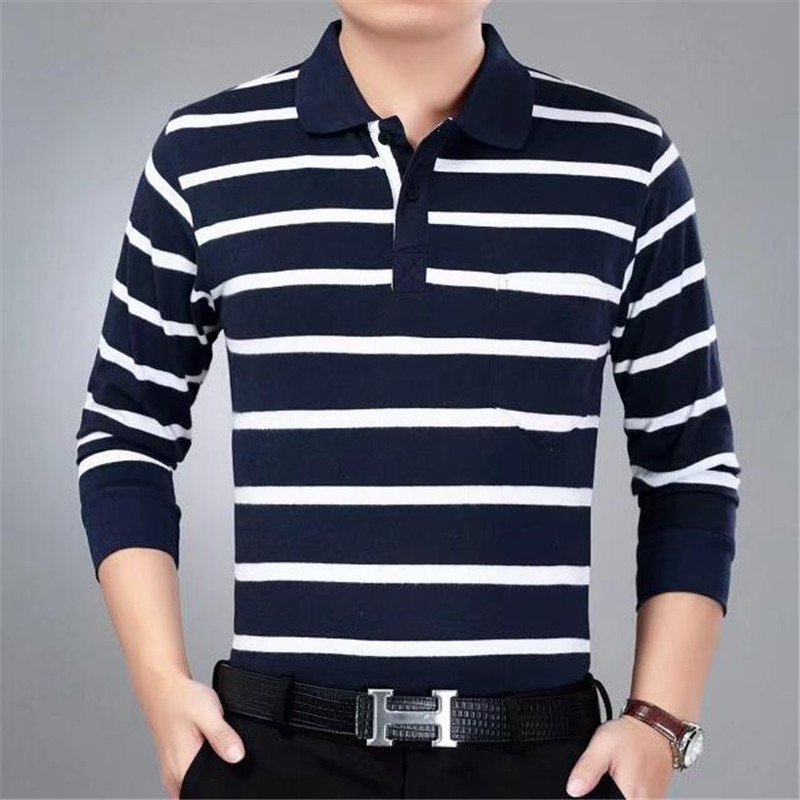 Stripe   Polo   Men 2018 Spring Brand Clothing Cotton Long Sleeve   Polo   Top Bottom Turn Down Collar Tops Striped   Polo   Shirts for Men
