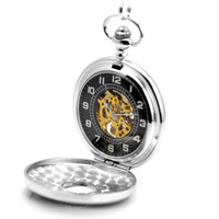 New Pocket Watch Fashion Silver Color Skeleton Mechanical Hand Wind Pocket Watches For Men Mechanical Pocket Watch Brand