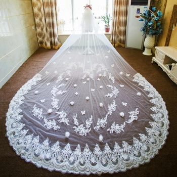 long wedding veil cathedral wedding veils soft tulle bridal veils with flowers lace appliques two layer wedding veil cheap