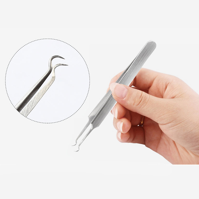Stainless Steel Straight Bend Curved Blackhead Acne Clip Tweezer Pimple Comedone Remover Kit Face Cleaner