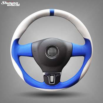 Hand-stitched White Blue Leather Car Steering Wheel Cover for Volkswagen VW Tiguan Lavida Passat B7 Jetta Mk6