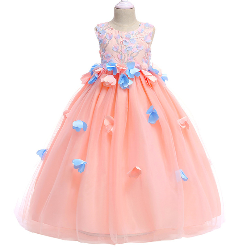 New Style 4-12 Year Girl Embroidered Long Dress Children's petal wedding princess dress Flower Fairy stage performance dress petal hem drawstring embroidered sweatshirt