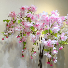 4 Forks Vertical Silk Cherry blossom bud Pear Artificial flower Sakura  bouquet  Wedding decoration DIY Cherry trees Wholesale