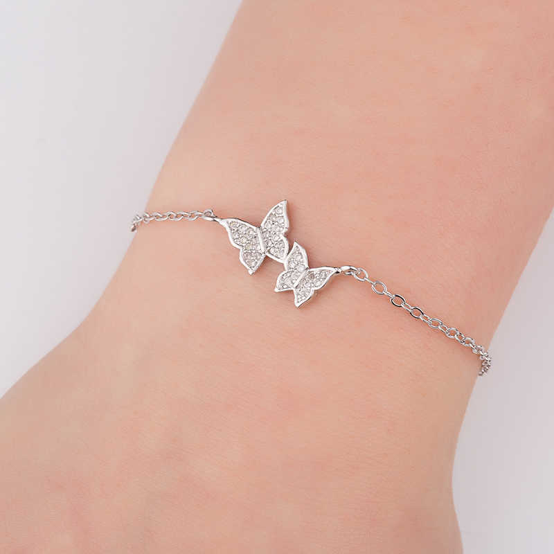 Hfarich Bracelet Elegant Simple Crystal Butterfly Bracelet Bangle For Women Chain Jewelry Gold Rose color Dropshipping