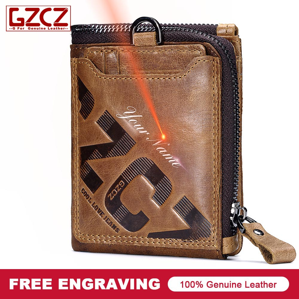 GZCZ New Genuine Leather Men Short Wallet Capacity Card Holder Coin Purse Male billetera hombre 2018