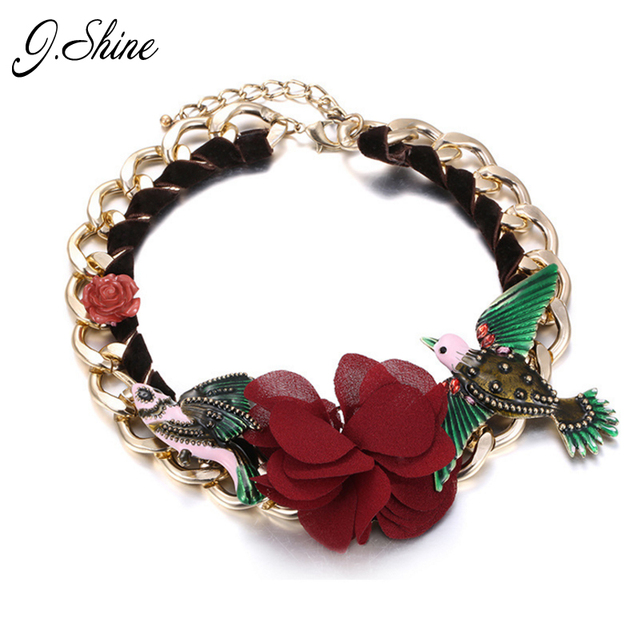 European Popular Statement Necklaces for Women Enamel Bird Red Flower Rhinestones Choker Necklace Fashion Christmas Gift