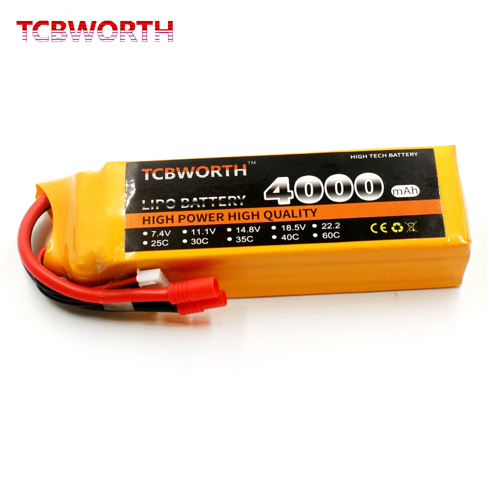 TCBWORTH LiPo battery Power 14.8V 4000mAh 25C 4S RC Helicopter For RC Airplane Quadrotor Car Boat Drone Truck Li-ion battery tcbworth 4s rc lipo battery 14 8v 4500mah 25c for rc airplane helicopter akku car drone truck li ion battery