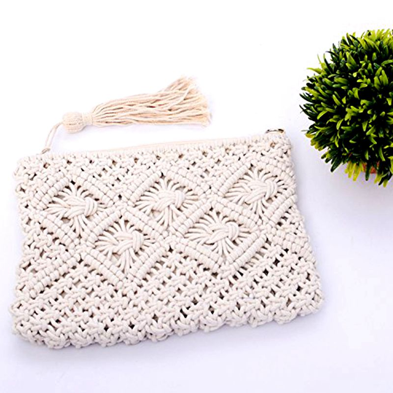 HEBA Hot Sale Cotton Rope Fringed Handmade Cotton Bags Bales The Only Shoulders Beach Bags (White)