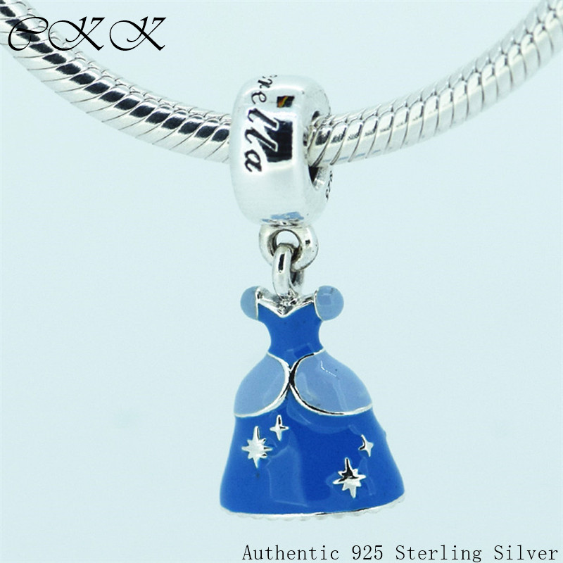 Jewelry & Accessories 100% 925 Sterling Silver Blue Enamel Dangle Charm Beads With Cinderella Dress For Jewelry Making Fit Bracelets Diy Yl140 Colours Are Striking