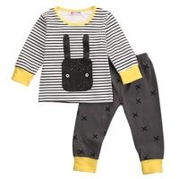 2pcs Sets 2017 Christmas Gift Infant Clothing Baby Boys Girls Printed Long Sleeve Clothes T Shirt