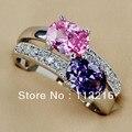 Аметист розовый кубический цирконий ювелирные изделия свободного покроя посеребрение кольцо R149 sz # 6 7 8 9