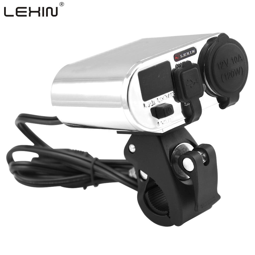 12V 3 in 1 Waterproof Motorcycle Handbar Power Station Cigarette Lighter Dual USB Charger Voltage Meter