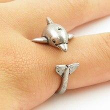 Модные ювелирные изделия дельфин кольцо в форме животного серебряные ювелирные кольца Удобный счастливый Повседневный простой подарочный для мужчин женщин подарок