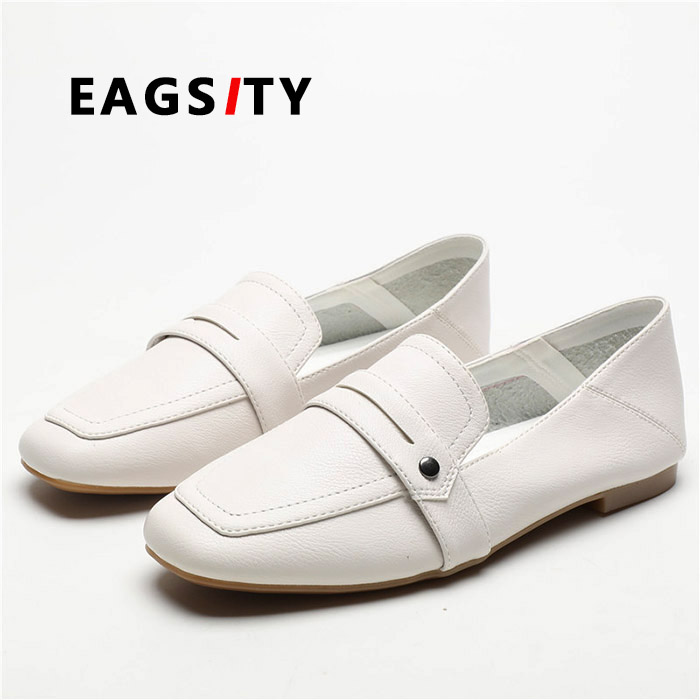 EAGSITY Synthetic leather comfortable white penny loafers ...