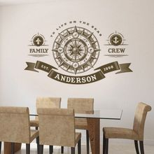 Compass Rose Wall Decal Custom Family Name Crew Vinyl Sticker Nautical Home Decor Personalized Art Mural AY1276