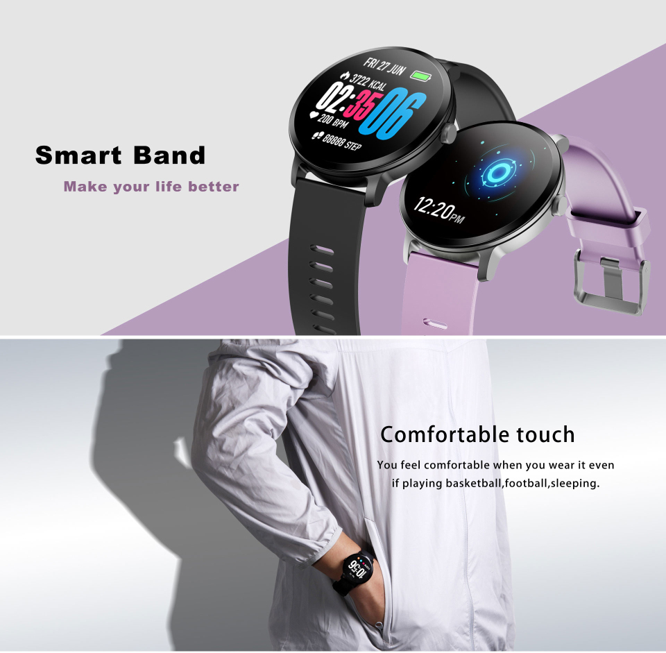 Sport watch smart tempered glass, waterproof, Android IOS Screen