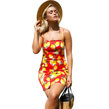 New summer popular Europe and America sexy fashion temperament high waist strap casual beach print ladies dress