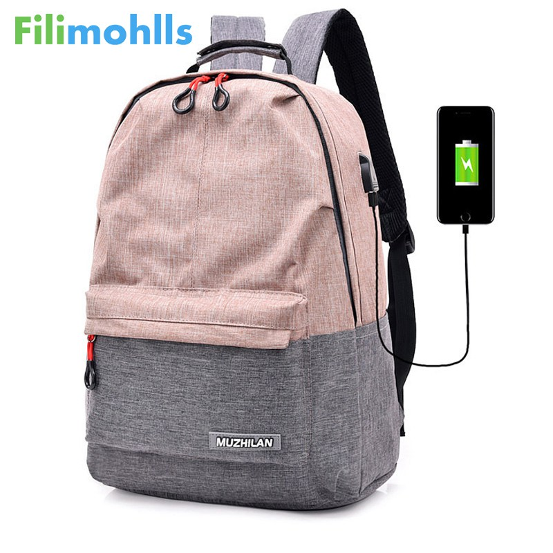 Bagpack Women College Canvas Backpack usb Charger Charging Schoolbag for Laptop Backpacks for Men Back Pack for School Bag S1771 Сумка